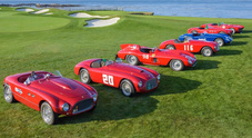 Ferrari in passerella a Pebble Beach, le regine dei 70 anni sfilano in California